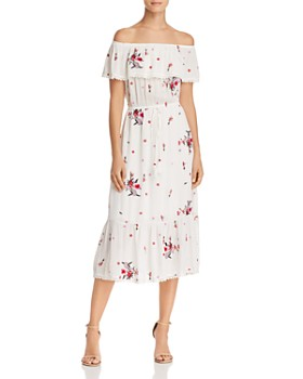 Lost and Wander - Orita Printed Off-the-Shoulder Midi Dress