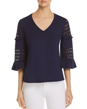 DANIEL RAINN LACE-SLEEVE TOP
