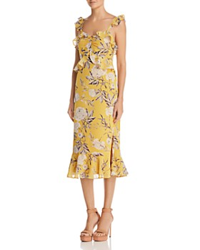 Lucy Paris - Marissa Ruffled Floral Midi Dress