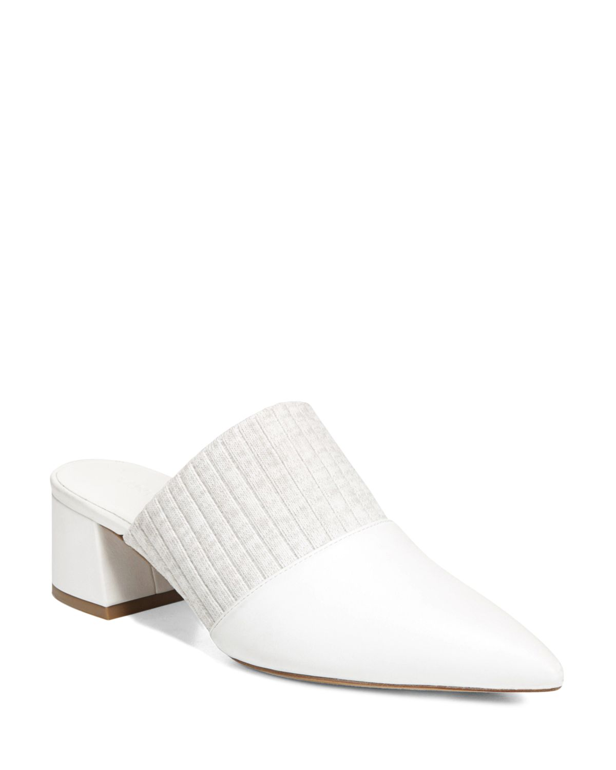 Vince Women's Raven Leather & Knit Block Heel Mules