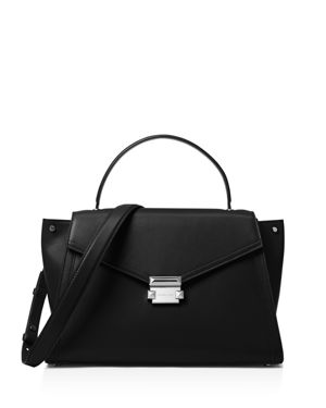 Mercer Large Leather Top-Handle Satchel Bag, Black