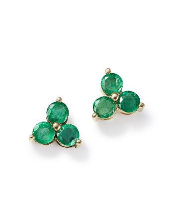 Bloomingdale's - Emerald Three Stone Stud Earrings in 14K Yellow Gold - 100% Exclusive