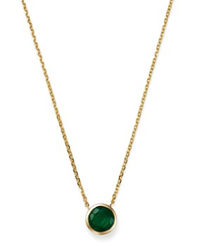 "Bloomingdale's - Emerald Bezel Pendant Necklace in 14K Yellow Gold, 16"" - 100% Exclusive"