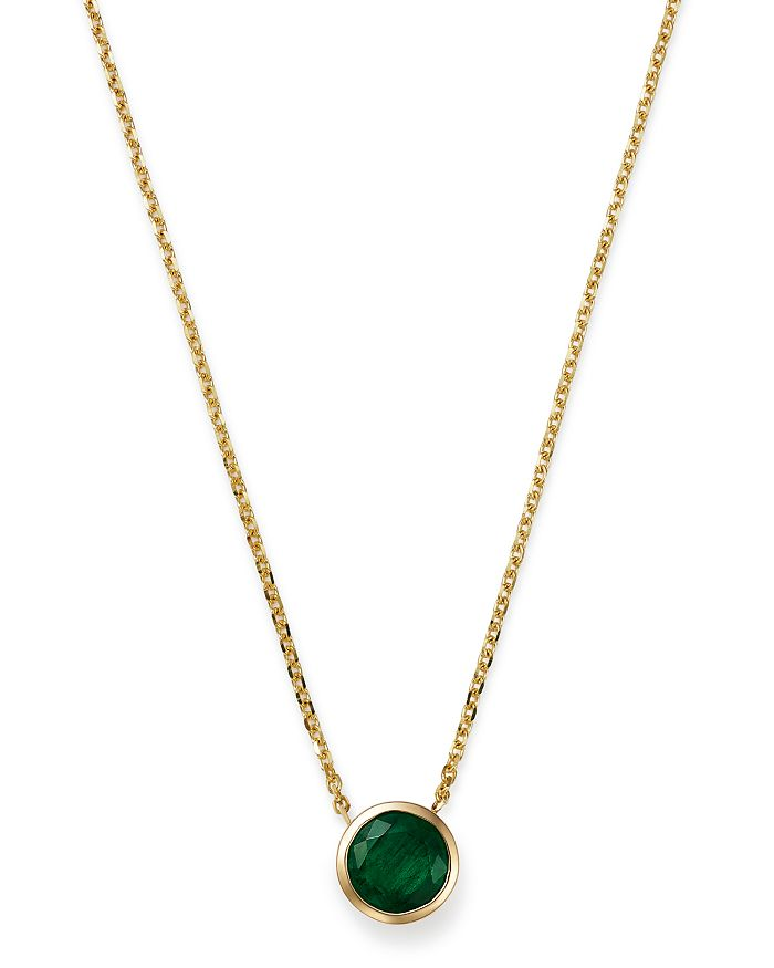 "Bloomingdale's - Emerald Bezel Pendant Necklace in 14K Yellow Gold, 16"" - 100% Exclusive"