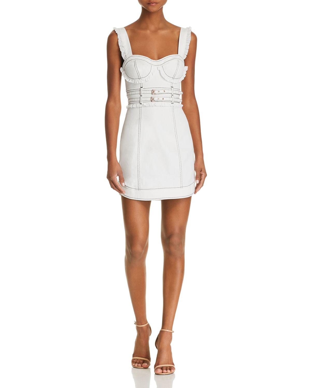 Daria Ruffle Denim Mini Dress by For Love & Lemons
