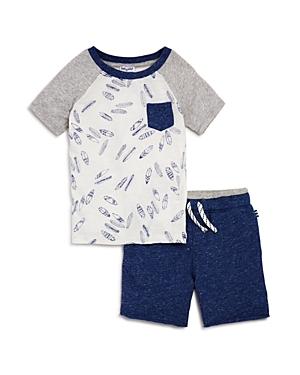 Splendid Boys Raglan SurfboardPrint Tee  Shorts Set  Little Kid
