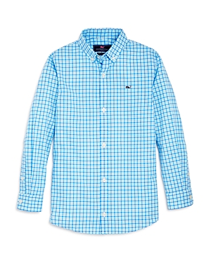 Vineyard Vines Boys Point Gammon Gingham Whale Shirt  Big Kid