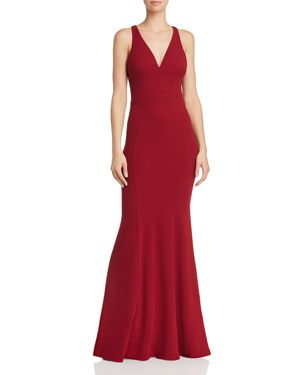 BARIANO Gem Racerback Crepe Gown in Dark Red