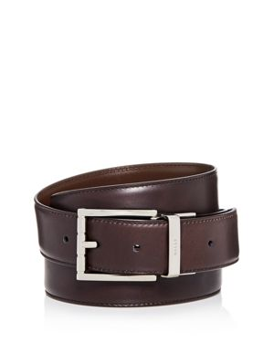 BALLY Astor Reversible Leather Belt in Mid Brown