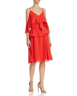 nanette Nanette Lepore Flounced Cold-Shoulder Dress 2991275