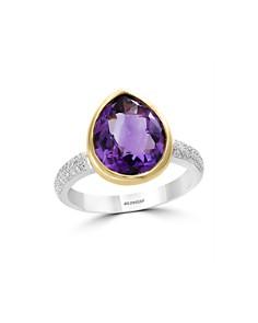Bloomingdale's Amethyst & Diamond Teardrop Ring in 14K Yellow & White Gold - 100% Exclusive _0