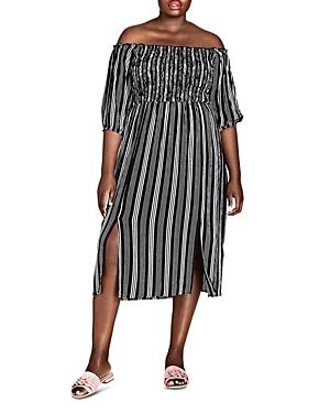 Stripe Play Off-the-Shoulder Midi Dress
