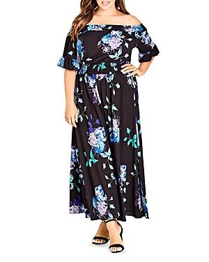 City Chic Plus Suzu Floral Off-the-Shoulder Maxi Dress