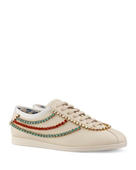 hot sale online 575e4 f06a0 Gucci - Women s Falacer Leather   Crystal Trim Sneakers ...