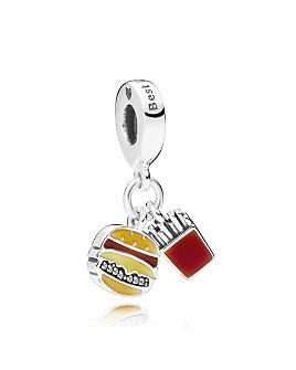 Pandora - Sterling Silver & Enamel Burger & Fries Drop Charm