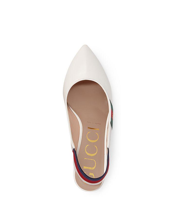 90d79e07b88 Gucci Women s Sylvie Leather Web Mid Heel Slingback Pumps ...