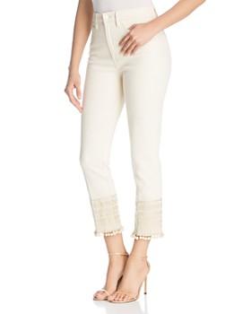 Tory Burch - Lana Cropped Pom-Pom Jeans in Heavy Enzy