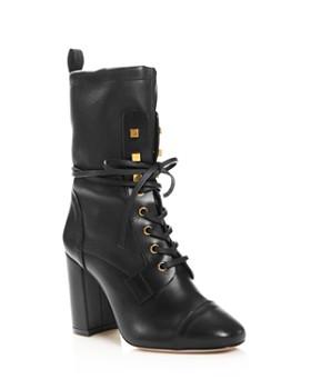 Stuart Weitzman - Women's Veruka Stretch Leather Lace Up Combat Booties
