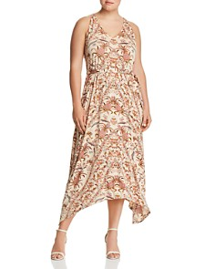 Lucky Brand Plus - Printed Handkerchief-Hem Maxi Dress