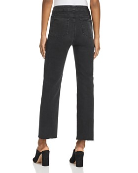 PAIGE - Margot Tie-Front Straight Jeans in Film Noir