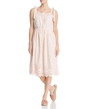 Eyelet-Trim Ribbon Shoulder Dress, Pearl Pink