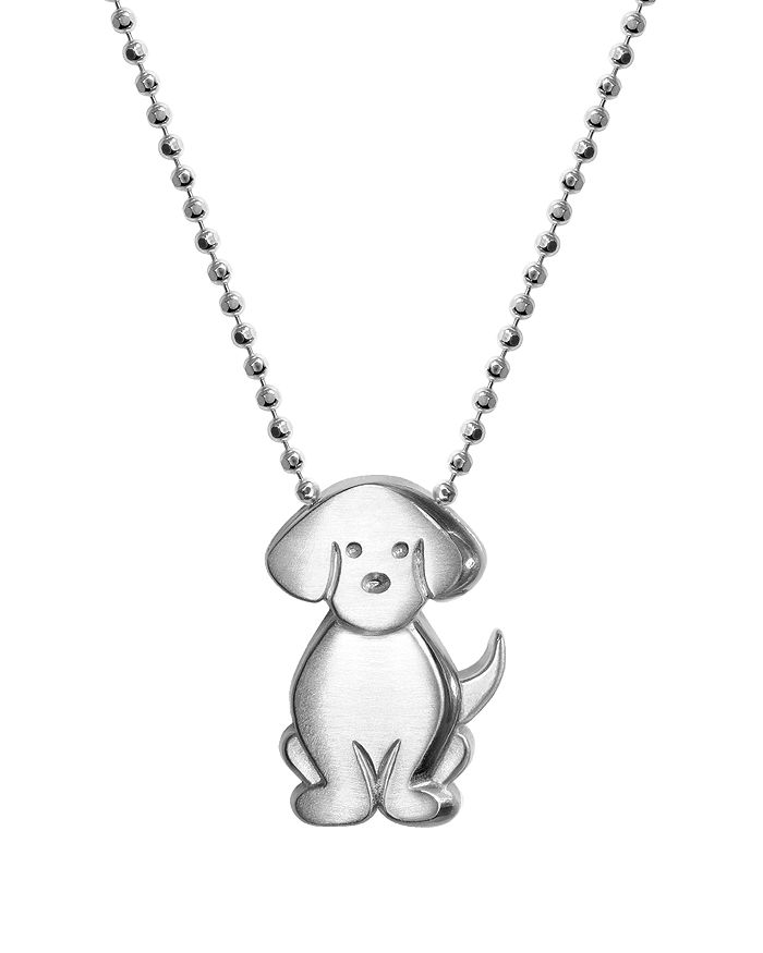 """Alex Woo - Silver Signs Dog Necklace, 16"""""""