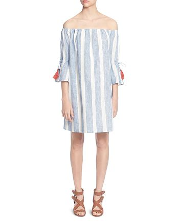 CATHERINE Catherine Malandrino - Randee Striped Off-the-Shoulder Dress