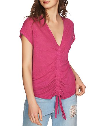 1.STATE - Ruched Drawstring Linen Top