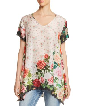JOHNNY WAS SILK ROSE-PRINT TUNIC
