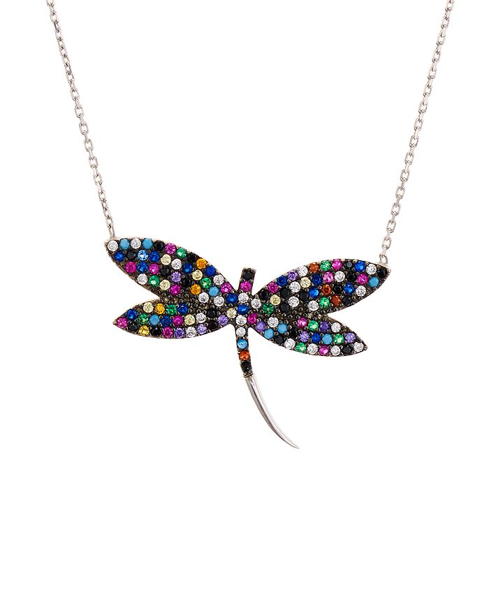 """AQUA - Multicolor Dragonfly Pendant Necklace in Sterling Silver or Gold-Tone Sterling Silver, 15"""" - 100% Exclusive"""