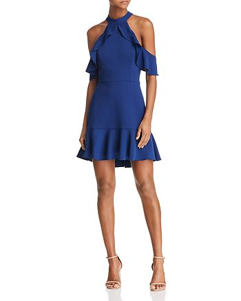 BCBGMAXAZRIA - Cold-Shoulder Crepe Dress