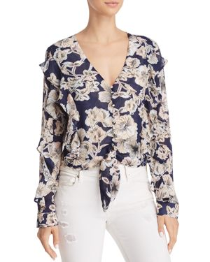 BARDOT TULLY RUFFLED FLORAL TIE-FRONT TOP