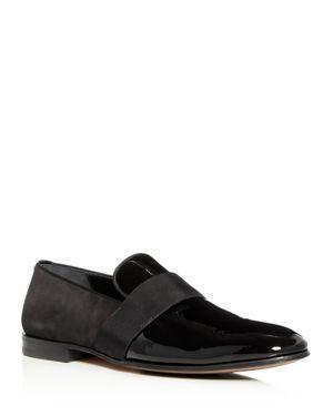 Men'S Bryden Patent Leather & Suede Slip-On Dress Loafer Shoe, Nero