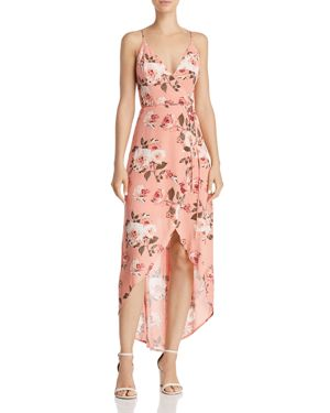 Floral High/Low Wrap Dress, Blush