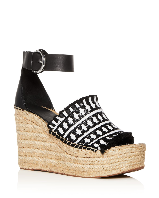 MARC FISHER Women's Andrew Woven Leather High-Heel Platform Espadrille Sandals