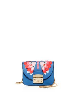 Metropolis Mini Papillon Leather Crossbody, Genziana E Blue/Gold