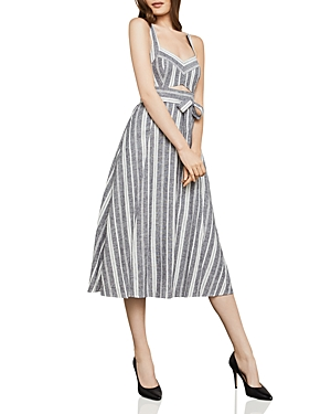 Bcbgmaxazria Striped Cutout Midi Dress