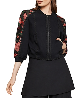 Bcbgmaxazria Embroidered Cropped Bomber Jacket