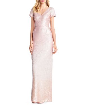ADRIANNA PAPELL Ombre Sequined Gown, Blush Multi