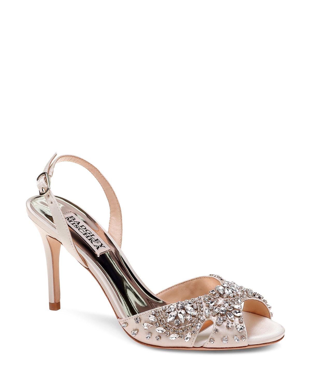 Badgley Mischka Women's Paula Embellished Satin Slingback Sandals