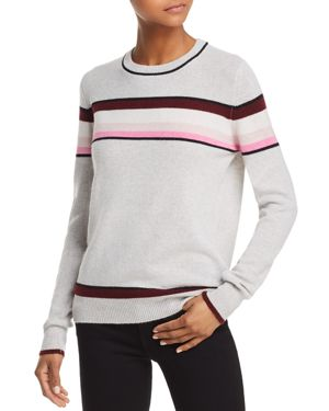 AQUA Cashmere Striped Cashmere Sweater - 100% Exclusive in Light Gray