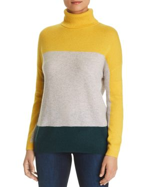 C by Bloomingdale's Color-Block Cashmere Turtleneck Sweater - 100% Exclusive