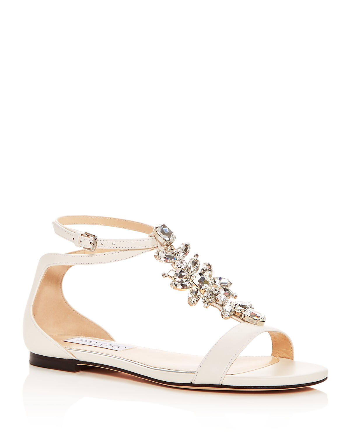 Jimmy choo Women's Averie Embellished Leather T-Strap Sandals ILDzcJWbv