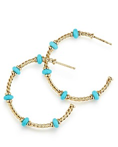 David Yurman - Rio Rondelle Large Hoop Earrings with Turquoise & 18K Gold