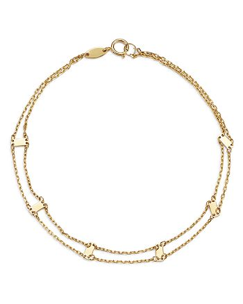 Moon & Meadow - Doubled Chain & Bar Bracelet in 14K Yellow Gold - 100% Exclusive