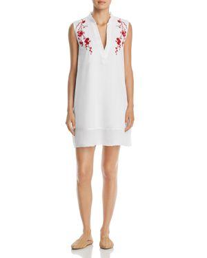 VELVET HEART Terra Embroidered Split-Neck Shift Dress in White/Red