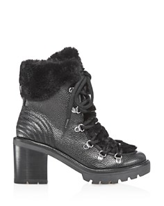 Marc Fisher LTD. - Daven Leather & Faux-Fur Cuff Lace Up Booties - 100% Exclusive
