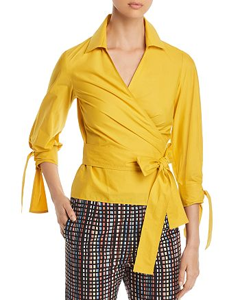 PAULE KA - Poplin Tie-Detail Wrap Top