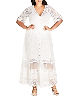 City Chic Plus Summer Lace Maxi Dress