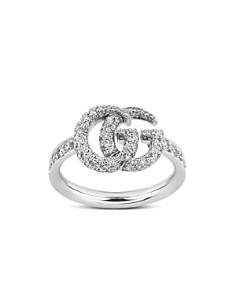 Gucci - 18K White Gold GG Running Diamond Ring